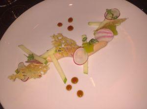 En entrée, la mousse de foie gras aux pommes granny ne manque pas de subtilité !